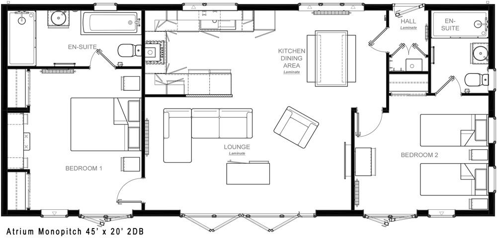 Omar Atrium 45x20 Floor Plan